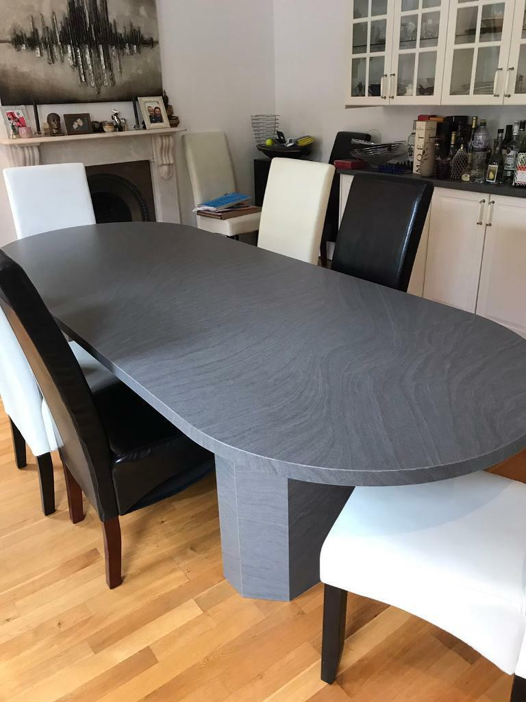 Grey dining table handmade acacia wood