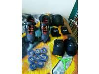 Quad skates, pads, outdoor wheels and skate tool
