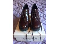 Oxblood High Heel Lace Up Topshop Shoes