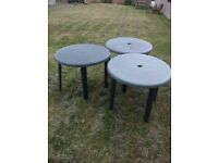 Green Resin Patio Tables - 90cm - Used, Good Condition