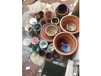 Selection of plant pots planters
