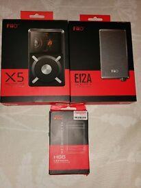 FiiO X5, FiiO E12A & FiiO HS6 combo - Music player, mp3 player, headphone amp