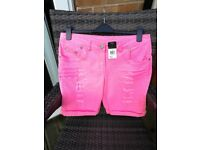 For sale new ladies florescent pink shorts