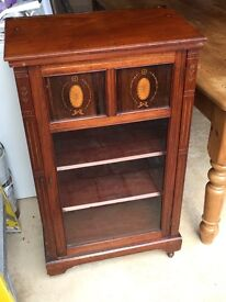 Pretty Cabinet, Antique, Mahogany, Glass door with inlaid panels.