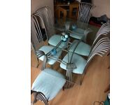 Glass top dining table 6 chairs + matching coffee table