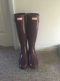 New hunter wellies purple