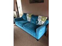 Large fabric sofa. Teal. 4 seater.