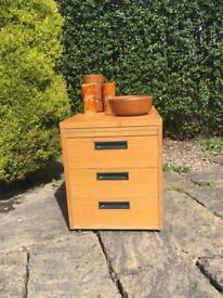 INDUSTRIAL style TEAK drawers VINTAGE retro Mid Century SOLID WOOD