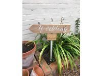 Hand made rustic Wedding sign