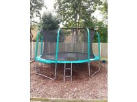 AeroBounce 14ft Trampoline With Safety Enclosure & Ladder in excellent condition.