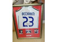 Ronaldhino Barcelon signed shirt. David Beckham's signed shirt