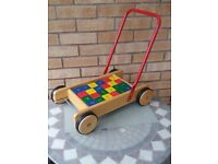 Baby Walker with toy building bricks. Toddler Play truck Walker. Toy building blocks