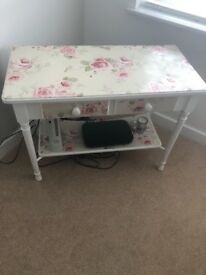 Shabby chic pink rose console table / dressing table
