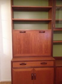 G plan teak wall unit with drinks cabinet