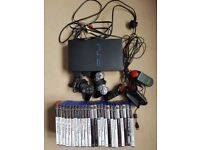 PS2 with 2 controllers and buzzers