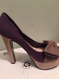 Ladies platform shoes- purple and pink size 7