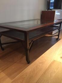 Solid wood, metal and glass coffee table