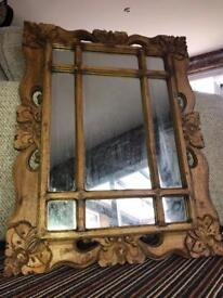 Wooden hand carved mirror