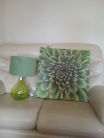 For sale Lime Green table lamp and Picture Excellent condition