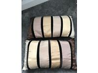 Gold/brown/cream decorative bedding pillows