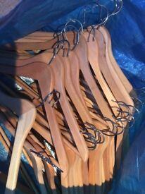 30 wooden coat hangers
