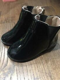Black patent infant boots