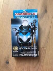 Goodridge Blue Front and Rear Steel Braided Brake Lines Hoses CBR 600 RR 2008 2009 2010 Motorbike