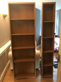 2 X bookcases ( both 6 ft 4in height and 8 in wide,one is 2 ft wide and the other 1 ft width)
