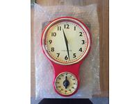 Retro kitchen clock and timer / red