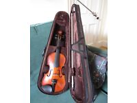 3/4 Violin with bow and case, perfect condition but missing one string.