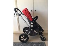 Bugaboo Cameleon carry cot/stroller in red/charcoal