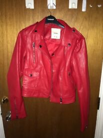 Red leather jacket from pull & bear