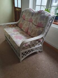 2 seat cane conservatory sofa, painted