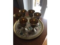Vintage tray and goblets