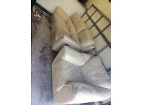 Leather recliner sofa with chair