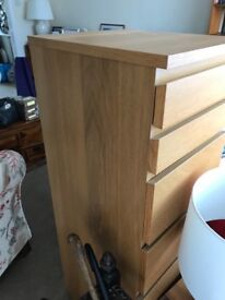Chest of 6 drawers, oak veneer/mirror glass