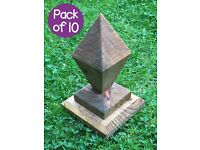 Pack Of 10 Wooden Caps, Diamond Fence Post Caps, Decorative Pergola, Arboreal, Fence Tops