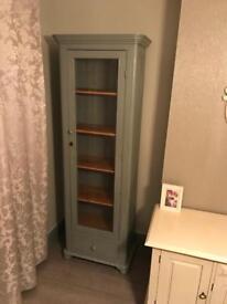 Beautiful pine glass display cabinet in lovely grey