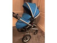 BLUE SILVERCROSS SURF 2 TRAVEL SYSTEM PRAM WITH CARRY COT AND STROLLER