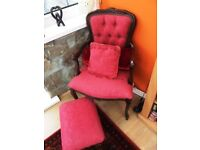 Chair with Matching Foot Stool & Cushions