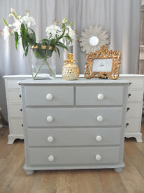 Solid Pine Shabby Chic Grey Chest of Drawers
