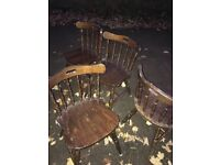 Oak oval drop leaf table and chairs