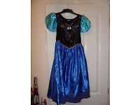 Frozen Elsa and Anna dresses aged 7/8 years and jewellery