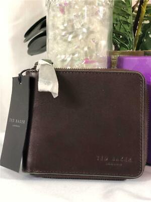 NWT IN BOX TED BAKER Men Half Zip Around Chocolate Brown Leather Bi-fold Wallet Baker Bi Fold Wallet