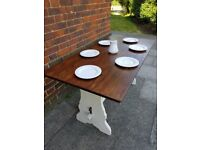 Vintage refectory oak dining table. White distressed. Rustic shabby chic farmhouse. LOCAL DEL
