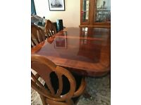 Dining Table with 8 Chairs and 2 arm chairs