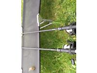2 H-Gun carp rods and 2 shimano 8000 reels and rod carry case