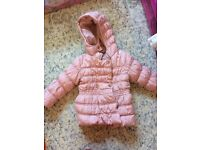 Next girls pink padded coat with rose gold buttons