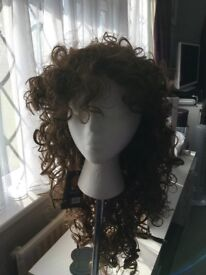 New Long Dark Brown curly wig with tag
