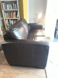 Brown bonded leather sofa from Furniture Village